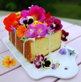 Lemon cake with edible flowers ©Via Citronkaka med blomsterprakt | Mat